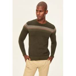 Trendyol Khaki Men Sweater-Bicycle Collar Kardigán